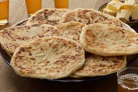 Traditional fresh baked Moroccan pancakes, meloui for breakfast.