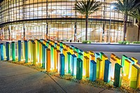 Lighted colored columns next to the San Diego Marriott Marquis & Marina. Downtown San Diego, California.
