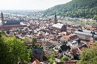 Cityscape in Heidelberg Germany on May 11, 2016. Neckar river from the top of the castle.