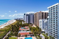 Florida, Miami Beach, sand, Atlantic Ocean, surf, overhead aerial view, high rise condominium buildings, hotels,