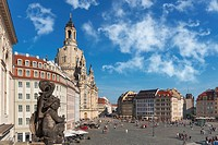 The Frauenkirche is an Evangelical Lutheran church of the Baroque and the monumental building of the Dresden Neumark, Dresden, Saxony, Germany, Europe...