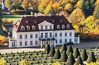 The baroque castle Wackerbarth is a wine-growing estate in the city district Niederloessnitz, Radebeul near Dresden, administrative district Meissen, ...