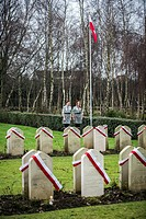 Scouts during guard of honour on Polish War Graves on Corstorphine Hill Cemetery in Edinburgh, Scotland, UK.