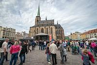 Pilsen Fest 2015 on Square of the Republic in Pilsen city, Czech Republic. Saint Bartholomew Cathedral on background.