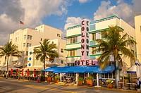Colony and Boulevard Hotel, South Beach, Ocean Drive,Miami, Florida, USA.