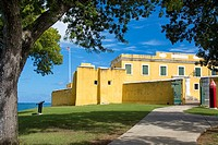 Entry gate to Fort Christiansvaern in Christiansted along the north shore of St Croix, US Virgin Islands, West Indies.