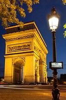 Twilight at Arch de Triomphe, Paris France.