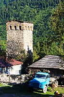 Traditional Svanetian towers in Shkhara Mountains, Unesco World Heritage Site, Legeri Village, Mestia, Svaneti region, Georgia.