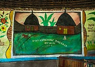 Ethiopian traditional house with decorated and painted walls, Kembata, Alaba Kuito, Ethiopia.