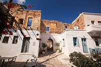 Archway leading to the Kastro-Castle area in the old town Chora or Chorio, Kimolos, Cyclades Islands, Greek Islands, Greece, Europe.