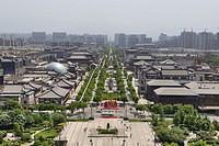 Cityscape from Giant Wild Goose Pagoda, Xian, China.