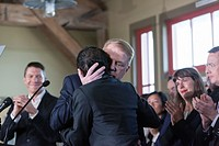 Seattle, Washington: Mayor Ed Murray embraces his husband Michael Shiosaki as supporters cheer at a press conference withdrawing from the race. The po...