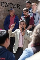 Seattle, Washington: State Senator Bob Hasegawa announces his candidacy for mayor of Seattle on the steps of Wells Fargo Center. The senator, a longti...
