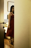 Blurred Glimpse of Woman in Hotel Room.