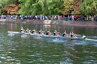 Seattle, Washington: Racing shell crosses the Montlake Cut in the Windermere Cup Crew Race during Opening Day of Boating Season.