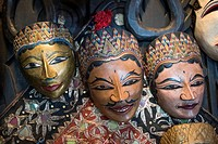 Traditional Javanese wooden masks, Indonesia.