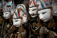 Traditional wooden puppets (wayang golek) from Java, Indonesia.