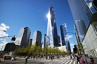 one world trade center building and ground zero 9/11 memorial New York City USA.