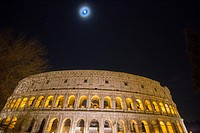 Colosseum, Rome, Italy. Night view of Colosseo in Rome, elliptical largest amphitheatre of Roman Empire ancient civilization.
