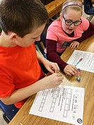 6th Graders Working on Math Problem, Wellsville, New York, USA.