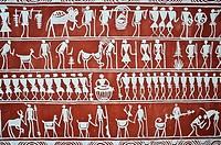 Mural painting depicting tribal people ( Rayagada, Odisha state, India).