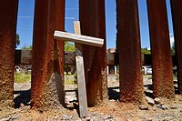 A cross sits at the wall that indicates the international border with Nogales, Arizona, USA, as seen from Nogales, Sonora, Mexico.