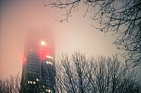 View of Oxo Tower building with lights at dusk in a foggy day and trees in theforeground. London, England, UK, Europe
