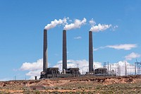 Navajo Generating Station, Navajo Indian Reservation, Arizona, United States.