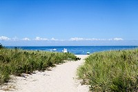 Path to a beach in Montauk, New York, United States, North America.