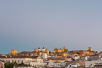 Caceres historic quarter taken from outskirts. Sunset.