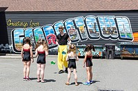 Seattle, Washington: School of Acrobatics and New Circus Arts (SANCA) prepare at the Georgetown Carnival 2017. Sponsored by the Georgetown Merchants A...
