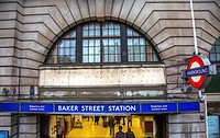 Baker Street Metro Subway Station London England. Tube Metro station Baker Street, home of fictionary character Sherlock Holmes, favorite detective Sh...