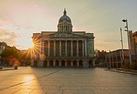 Old Market Square with the Council House at dawn, Nottingham, Nottinghamshire, east Midlands, England.