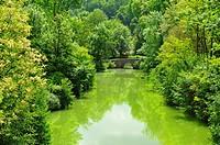 Dropt River at Eymet, Dordogne Department, Aquitaine, France.