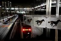 Cinematographer in Metro station, Alboraya, Spain.