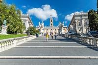 The Capitoline Hill cordonata leading from Via del Teatro di Marcello to Piazza del Campidoglio, Rome, Lazio, Italy, Europe.