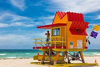 Colorful Lifeguard Stations on the beach in Miami Beach Florida.