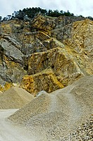 Quarrying of limestone in a quarry, STEGAG Steinbruch AG, Gänsbrunnen, canton of Solothurn, Switzerland
