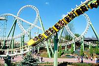The ´Magic Mountain´ roller coaster in Gardaland. Garda Lake, Peschiera del Garda, Verona Province. Italy