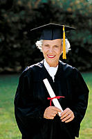 Senior graduate woman