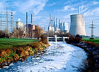 Lippe River pollution, hard coal power station. Werne. Germany
