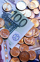 Euro coins and paper currency, various denominations