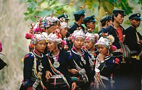 Akha girls and boys with traditional costumes near Muang Sing. North Laos