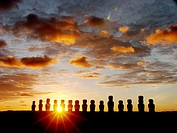 Moais at dawn. Ahu Tongariki, Easter Island. Chile