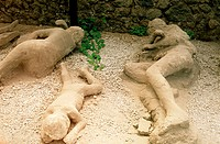 Human remains buried by Vesuvian eruption, ruins of the old Roman city of Pompeii. Italy