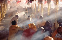 Fire worship at Kumbh Mela Festival, the largest religious event in the world. Allahabad, India