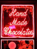 Neon sign ´Hand Made Chocolates´. California. USA.