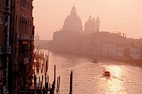 Grand Canal and Santa Maria della Salute church in background. Venice. Veneto, Italy