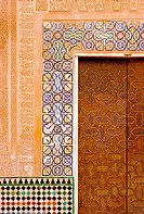 Decorated doorway in the Alhambra. Granada. Andalucia. Spain