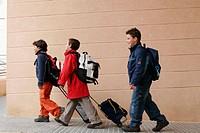 Schoolboys Carrying Their School Bags